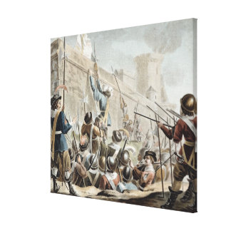 Attack on Boulogne-Sur-Mer, engraved by Jean Bapti Canvas Print