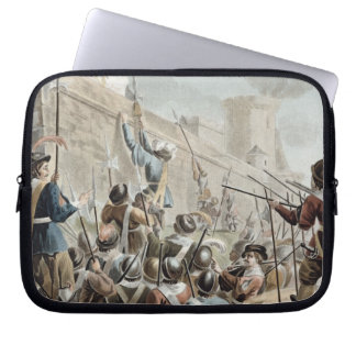 Attack on Boulogne-Sur-Mer, engraved by Jean Bapti Computer Sleeve