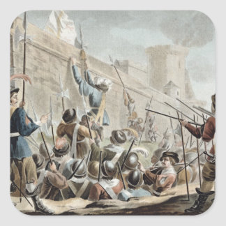 Attack on Boulogne-Sur-Mer, engraved by Jean Bapti Square Sticker