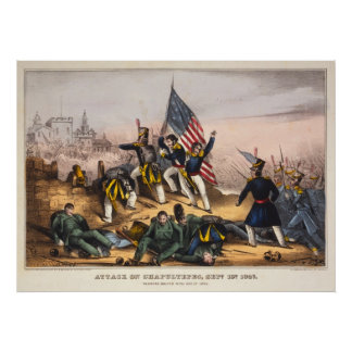 Attack on Chapultepec Mexican American War Poster