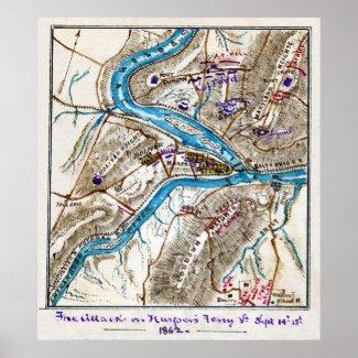 Attack on Harper's Ferry American Civil War 1862 Print