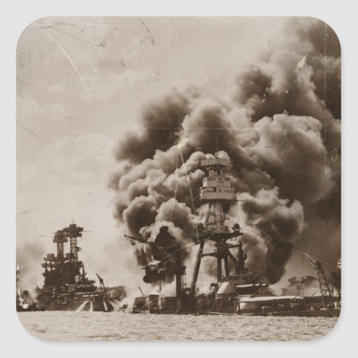 Attack on Pearl Harbor Square Stickers