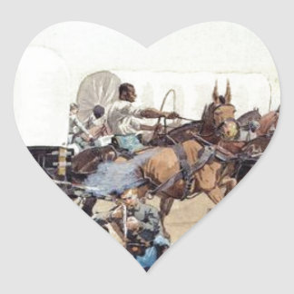 Attack on the Supply Train by Frederic Remington Heart Sticker