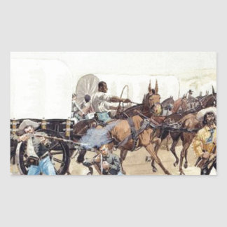 Attack on the Supply Train by Frederic Remington Rectangular Sticker