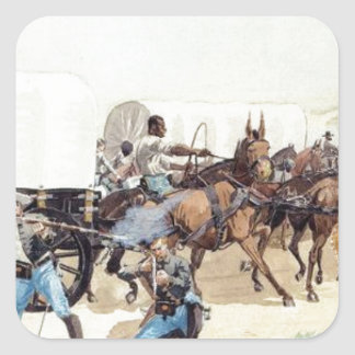 Attack on the Supply Train by Frederic Remington Square Sticker