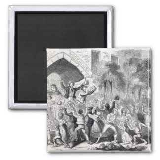 Attack on the Workhouse at Stockport in 1842 2 Inch Square Magnet
