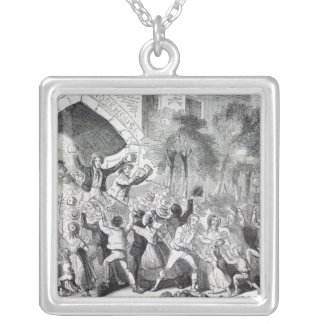 Attack on the Workhouse at Stockport in 1842 Square Pendant Necklace