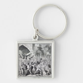 Attack on the Workhouse at Stockport in 1842 Silver-Colored Square Keychain