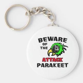 Attack Parakeet Basic Round Button Keychain