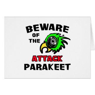Attack Parakeet Greeting Cards