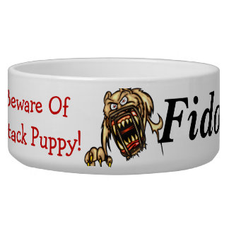 Attack Puppy Customized Dog Bowls