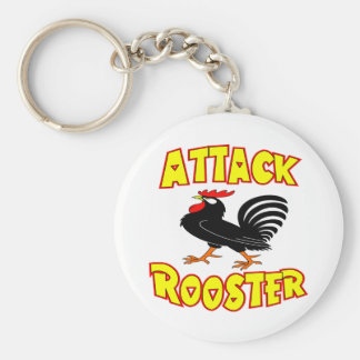 Attack Rooster Basic Round Button Keychain