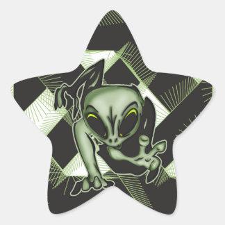 Attacking Alien Star Sticker