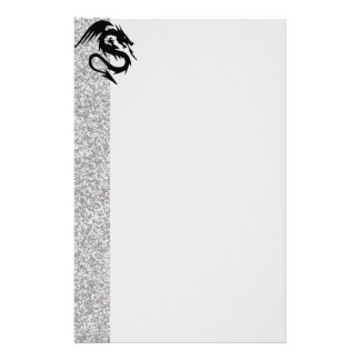 Attacking Dragon on Silver Stationery