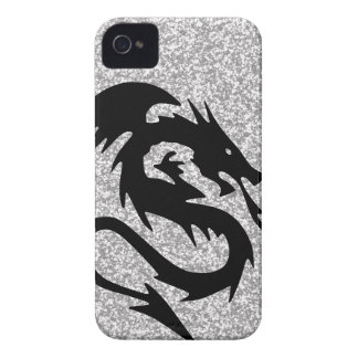 Attacking Dragon Silhouette on Silver iPhone 4 Cover