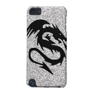 Attacking Dragon Silhouette on Silver iPod Touch (5th Generation) Case