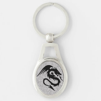 Attacking Dragon Silhouette on Silver Keychain