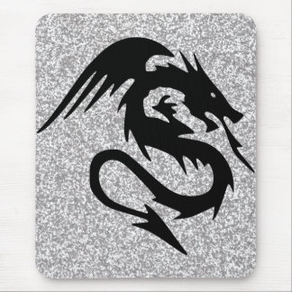 Attacking Dragon Silhouette on Silver Mouse Pad