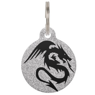 Attacking Dragon Silhouette on Silver Pet Tag