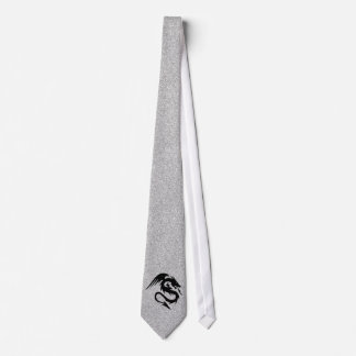 Attacking Dragon Silhouette on Silver Tie