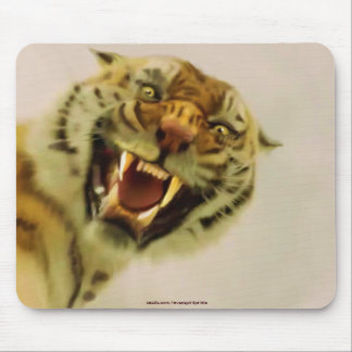 Attacking Tiger by Sukai Asian-style Wildlife Art Mouse Pad