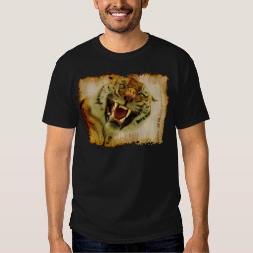 Attacking Tiger by Sukai Asian-style Wildlife Art T-Shirt
