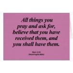 Attainment Mark 11:24 Abbrev Greeting Card