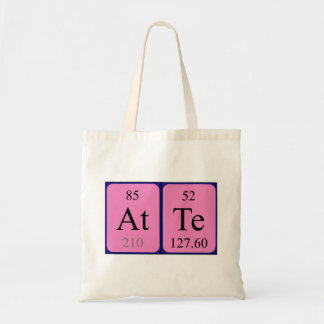 Atte periodic table name tote bag