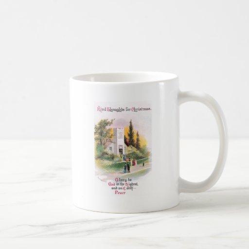 Attending Church on Christmas Vintage Coffee Mug