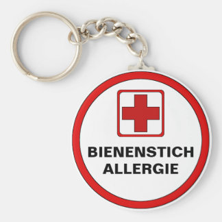 Attention - bee pass allergy key chain