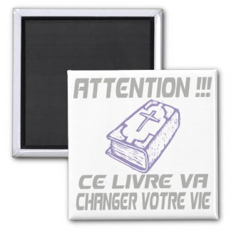Attention Bible Gris Lilas Magnet