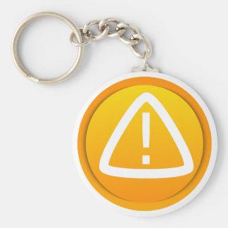 Attention Caution Symbol Basic Round Button Keychain