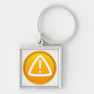 Attention Caution Symbol Silver-Colored Square Keychain
