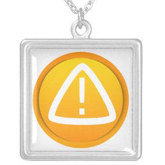 Attention Caution Symbol Square Pendant Necklace