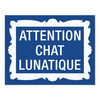 Attention Chat Lunatique Custom Invitation