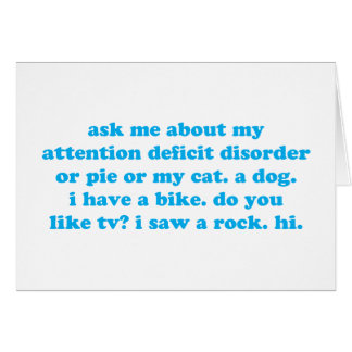 Attention deficit disorder humor card