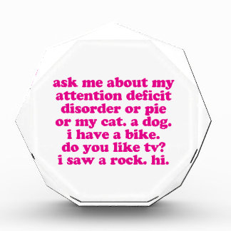 Attention Deficit Disorder Quote ADD ADHD - Pink Award