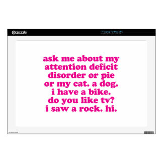 Attention Deficit Disorder Quote ADD ADHD - Pink Laptop Decals