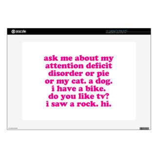 Attention Deficit Disorder Quote ADD ADHD - Pink Laptop Skin