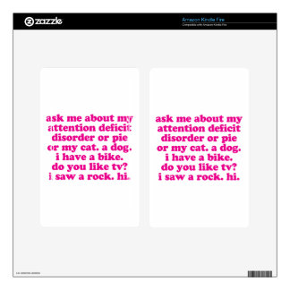 Attention Deficit Disorder Quote ADD ADHD - Pink Skin For Kindle Fire