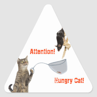 Attention! Hungry Cat! Triangle Sticker