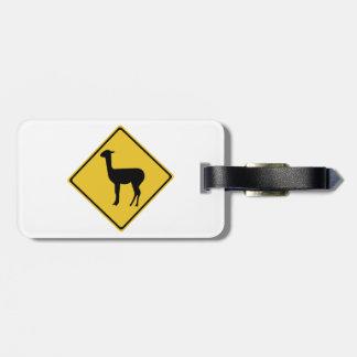 Attention Llamas, Traffic Sign, Argentina Bag Tags