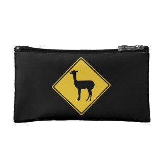 Attention Llamas, Traffic Sign, Argentina Cosmetic Bag