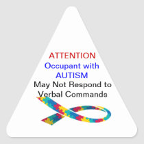 attention! Occupant has Autism Stickers