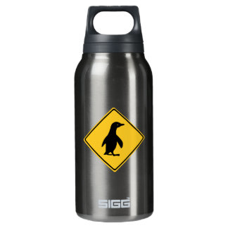 Attention Penguins, Traffic Sign, New Zealand Insulated Water Bottle