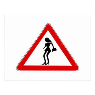 Attention Prostitutes (1), Traffic Sign, Italy Postcard