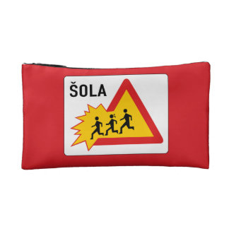 Attention School, Traffic Sign, Slovenia Makeup Bag