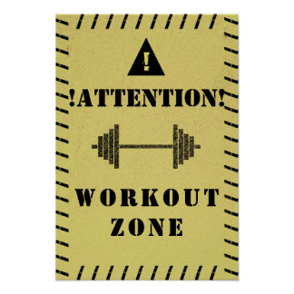Attention sign workout zone gym style
