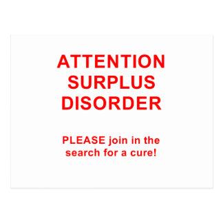 Attention Surplus Disorder Postcard