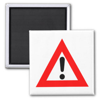 Attention Triangle Symbol 2 Inch Square Magnet